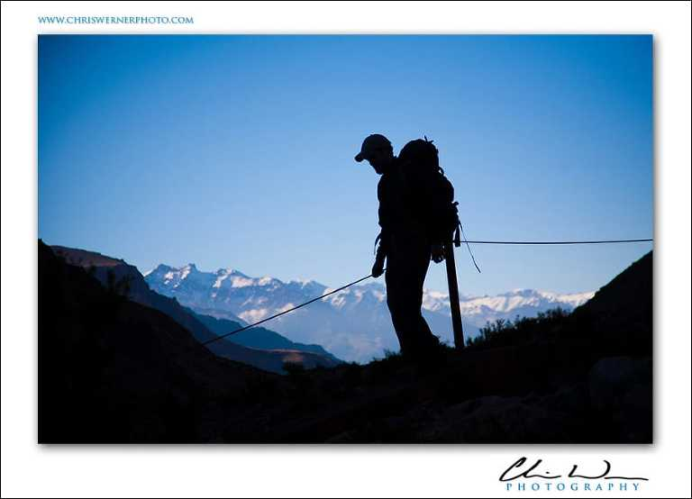 Crossing the bridge at Las Lenas, Climbing Aconcagua.