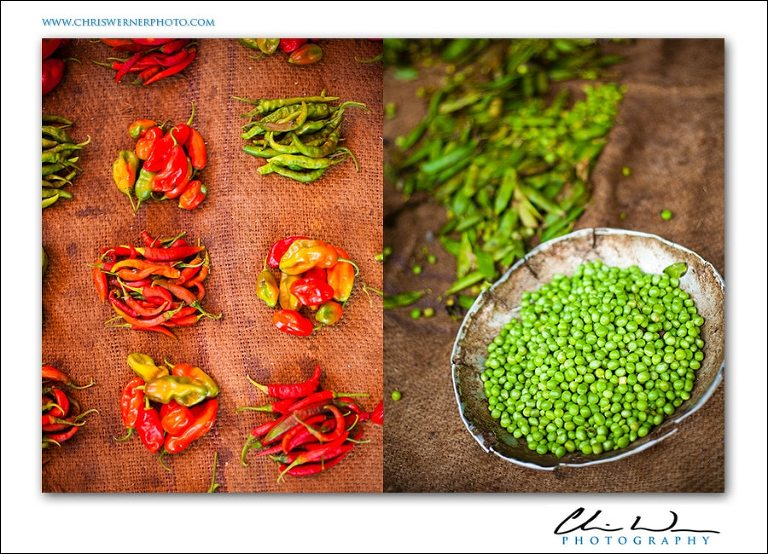 Chiles, peppers and peas from the market in Stonetown, Zanzibar Souk Marketplace.