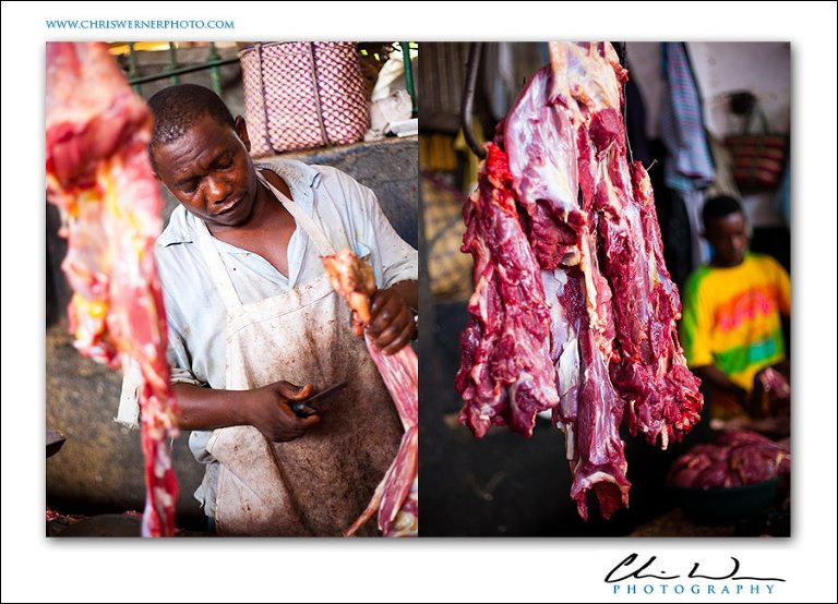 The meat market in Stonetown, Zanzibar Souk Marketplace.