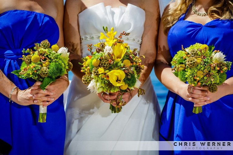 Lake Tahoe bridesmaid dresses and flowers.