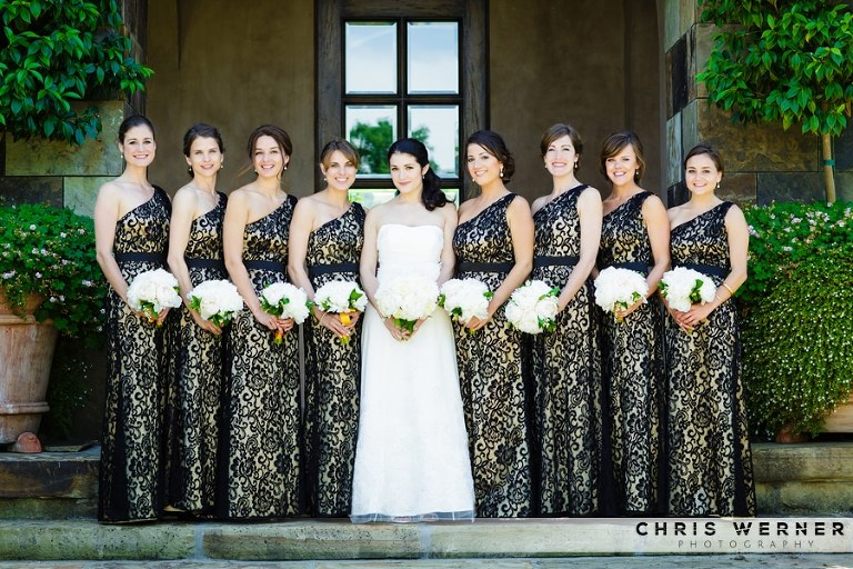 Gold bridesmaid dress photo.