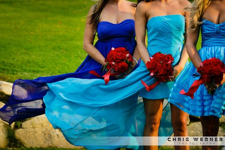 Light blue and dark blue bridesmaid dresses.