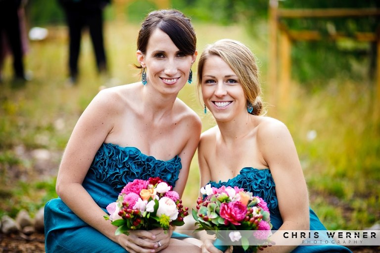 Teal wedding dress for bridesmaids.