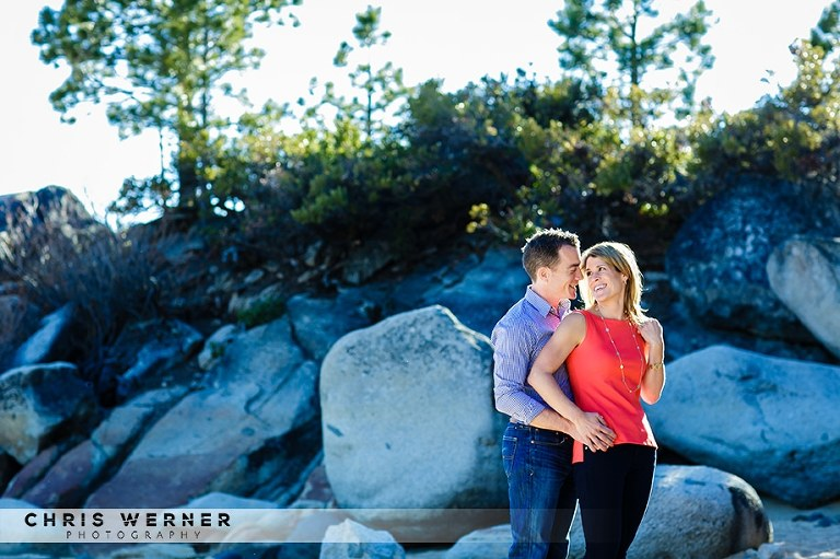 North Lake Tahoe engagement photos at Speedboat Beach