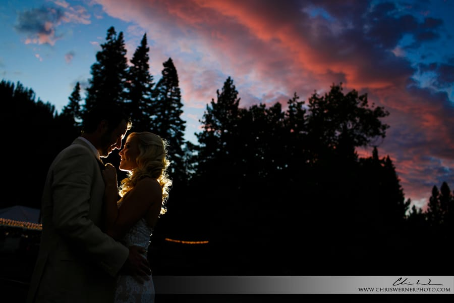 Lake Tahoe backyard wedding sunset photo.