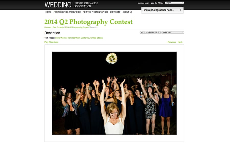 Lake Tahoe wedding photography award