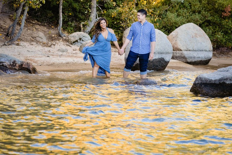Don't be afraid to get wet during your Lake Tahoe engagement session!