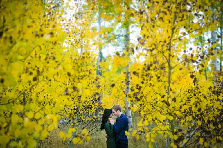 If you know where to go, fall is a great time for Lake Tahoe engagement photos.
