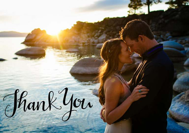 Thank you cards idea for Tahoe weddings