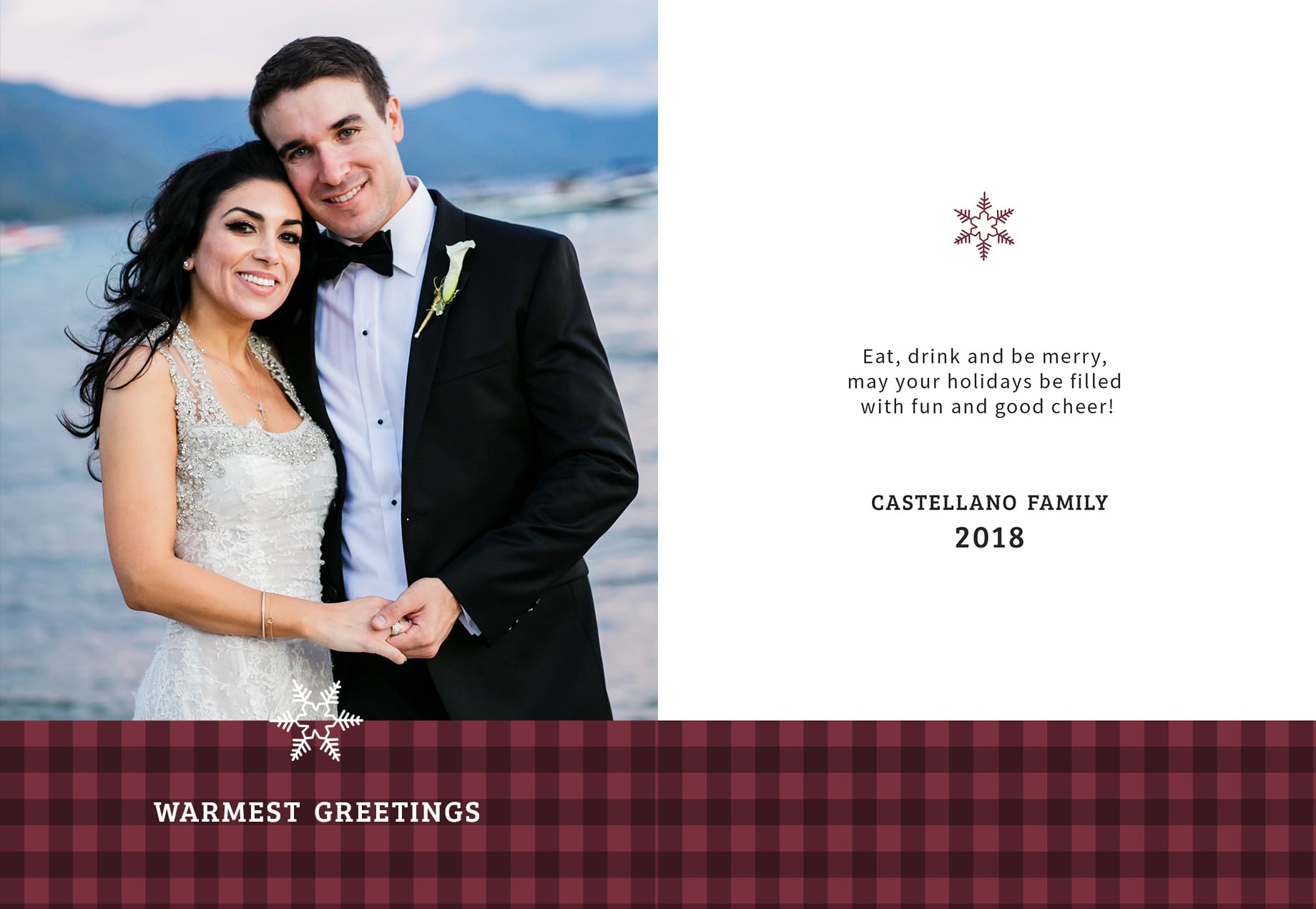 Holiday cards idea using wedding photos