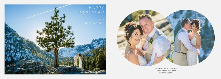 New Year's cards idea from a Lake Tahoe wedding