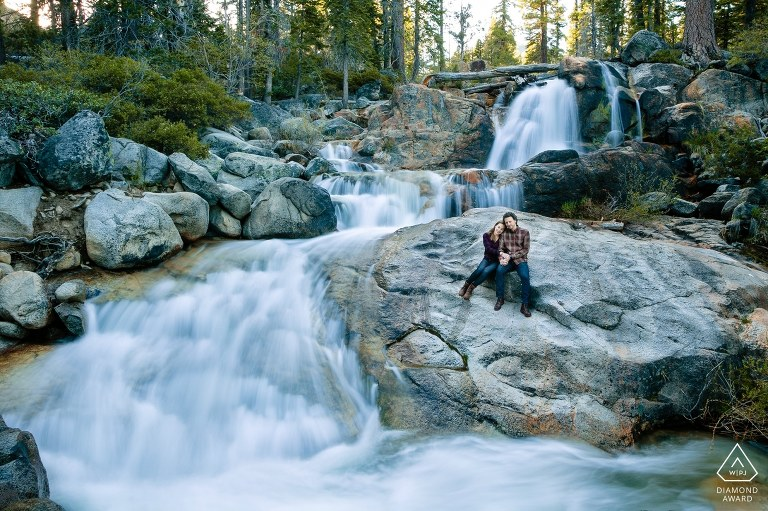 Squaw Valley engagement photos are for adventurous couples who love hiking, camping, and exploring waterfalls.
