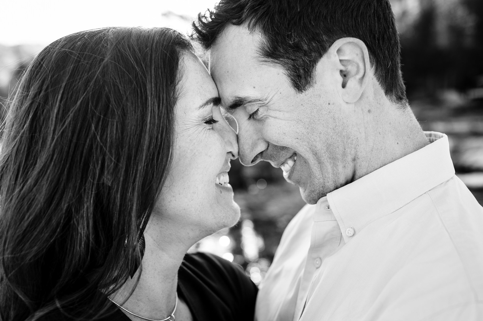 Your Lake Tahoe engagement photographer may encourage you to give your fiancé eskimo kisses at sunset.