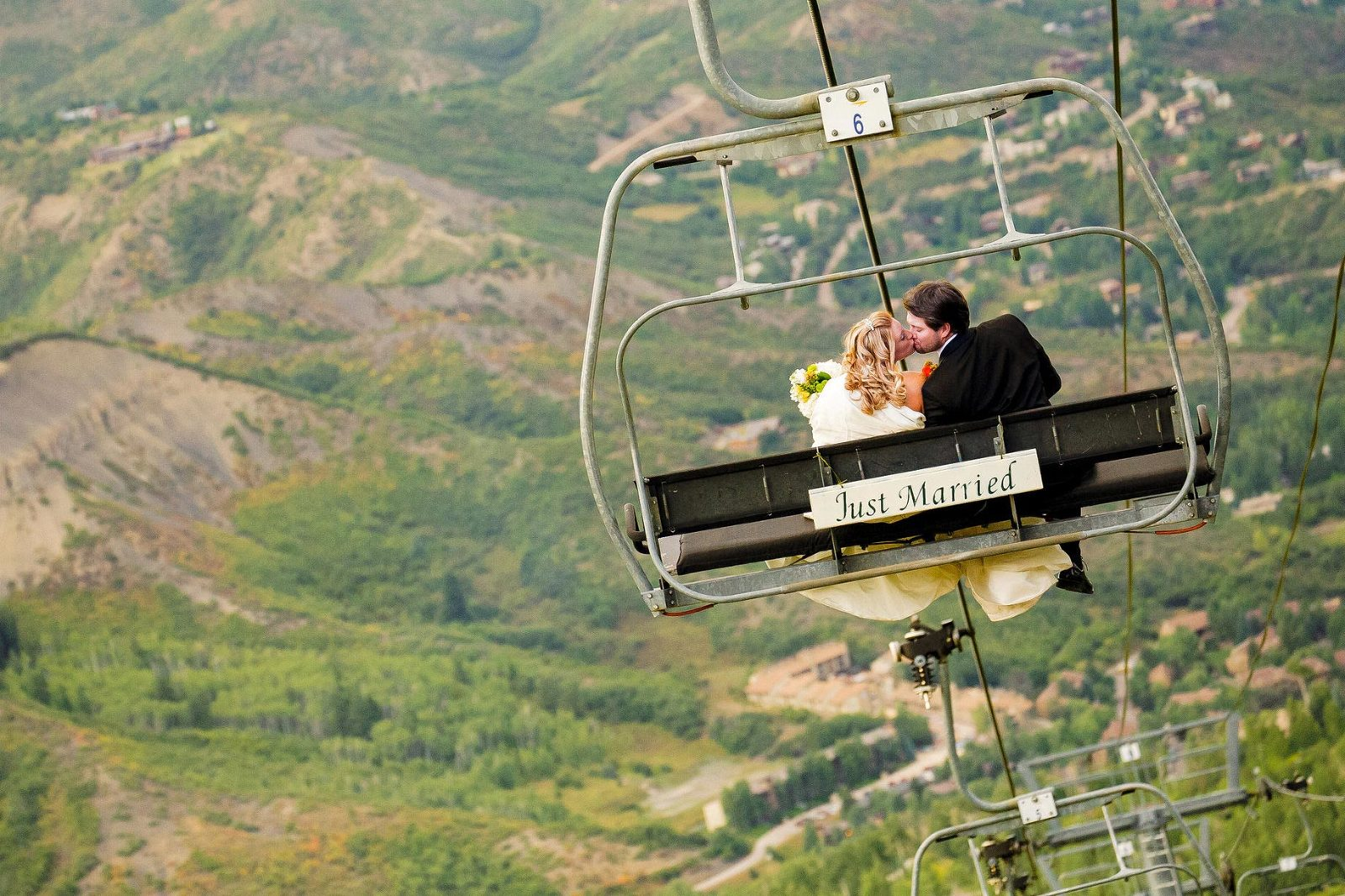 Ski resort weddings are popular in Lake Tahoe, because the bride and groom can ride the ski chairlift to and from their ceremony.