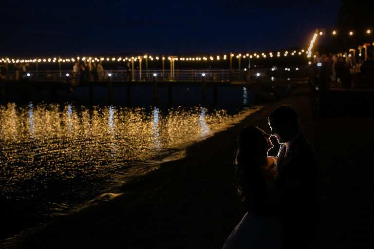The West Shore Cafe has a romantic pier with lights and a fireplace for you and your wedding guests.