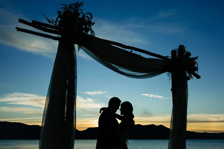 The sunset at a Lake Tahoe Edgewood wedding can be beautiful colors because the venue has views looking both east and west.