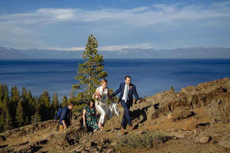 The climb to an Eagle Rock Tahoe elopement is steep, but not long. It takes most reasonably fit people anywhere from 10-20 minutes of hiking.